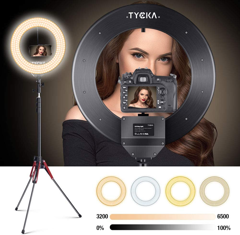 """LED Ring Light 18"""" with Tripod Stand Phone Holder for Live Stream 480 LEDs Aluminum Alloy Lampshade Selfie Ring Light Kit for Smartphone & Camera YouTube Shooting, 4 Color Modes 10 Brightness Level"""