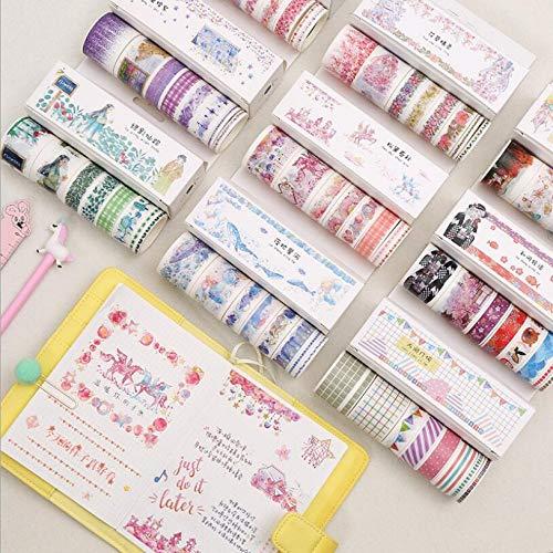 (CJHKJD Masking Tape Random Color 8 pcs Paper Fairy Tale Flower Floral Rainbow Planets Masking Fall Washi Tape Set Stationery Stickers)
