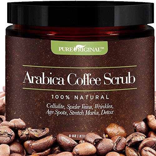 Pure Original Organic Arabica Coffee - Scrub Best Cellulite, Acne, Stretch Marks, Wrinkles Treatment. With Dead Sea Salt, Olive Oil, Shea Butter. Natural Exfoliator, Moisturizer Promoting Radiant Skin