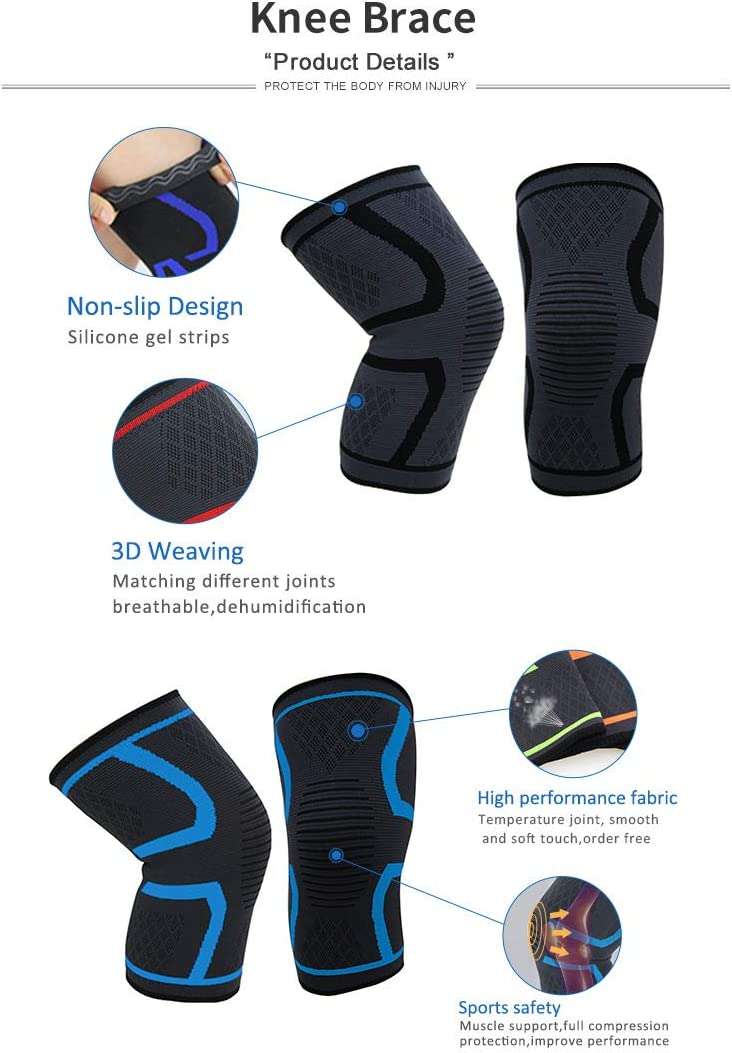 2 Pack Breathable Knee Compression Sleeves for Men and Women Gym Basketball Knee Support Braces for Running Weightlifting Workout Sports Knee Joint Pain Prevention by Stysz