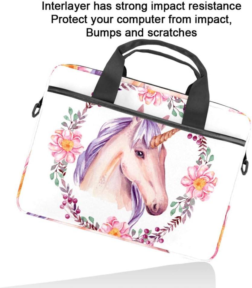 Watercolor Unicorn with Floral FrameLaptop Case Canvas Pattern Briefcase Sleeve Laptop Shoulder Messenger Bag Case Sleeve for 13.4-14.5 inch Apple Laptop Briefcase