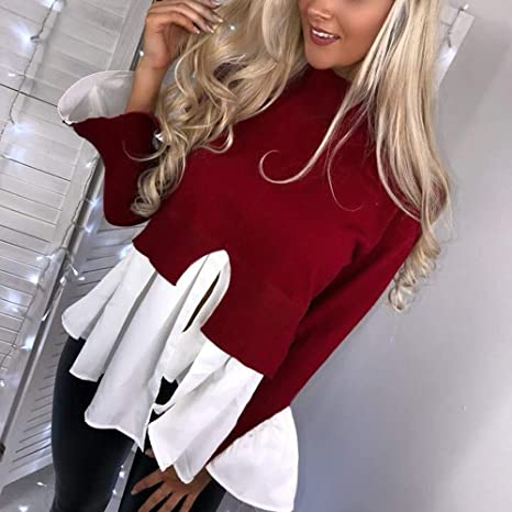 YUNY Womens Pullover Patchwork Hit Color Long Sleeve Round Neck Blouse Red M