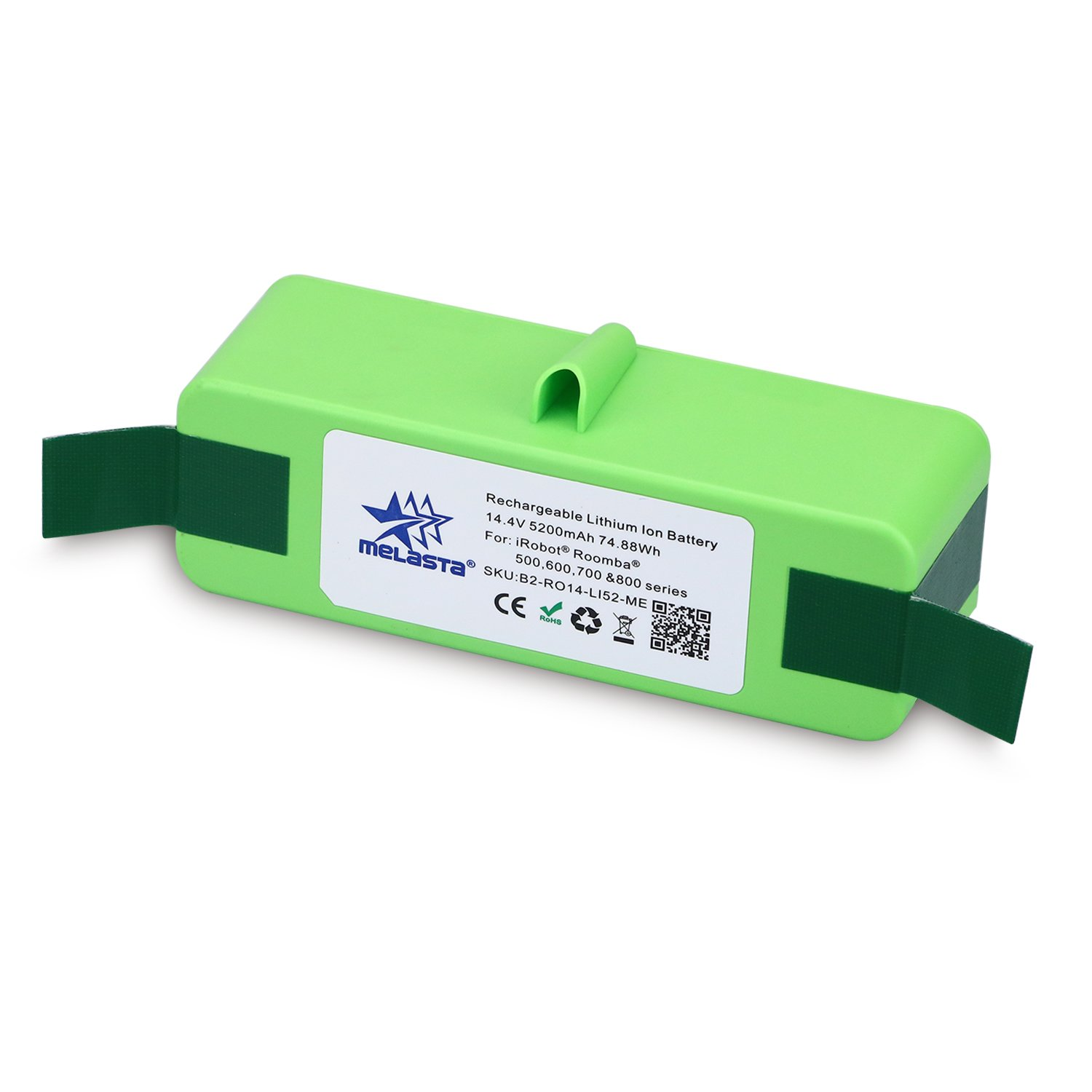 melasta 14.4V 5200mAh Lithium-ion Replacement Battery with Brand Cells (UL&CE Approved) for iRobot Roomba 500 600 700 800 Series 510 530 531 532 550 585 595 561 600 620 630 650 760 770 780 870 880 R3
