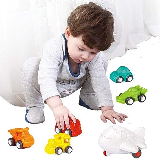 FLORMOON Juguetes para niños pequeños Juguete Educativo Push Go Baby -6 Pack de Juguetes para Ruedas Gratis para niños pequeños Tráfico de la Ciudad Coches pequeños para 1 2 3 años +