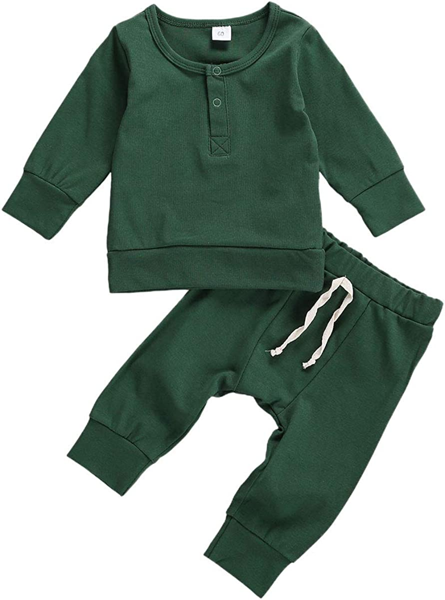 Baby Unisex Pajamas Infant Baby Boy Girl Outfit Solid Long Sleeve Sweatshirt Top with Pants Set Fall Winter Clothes Set