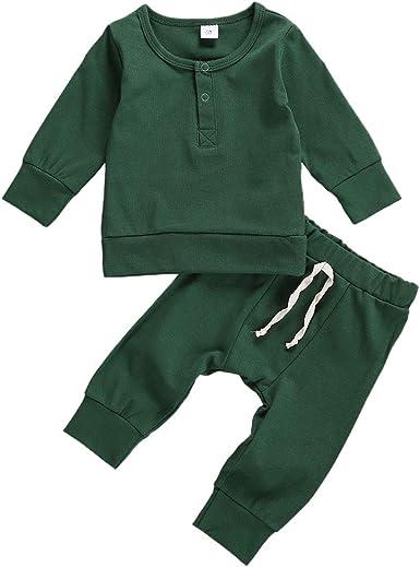 Newborn Infant Baby Girl Boy Organic 2-Piece Cotton Pjs Pajamas Set Knitted Button Long Sleeved Tops Shirt Pants Sleepwear