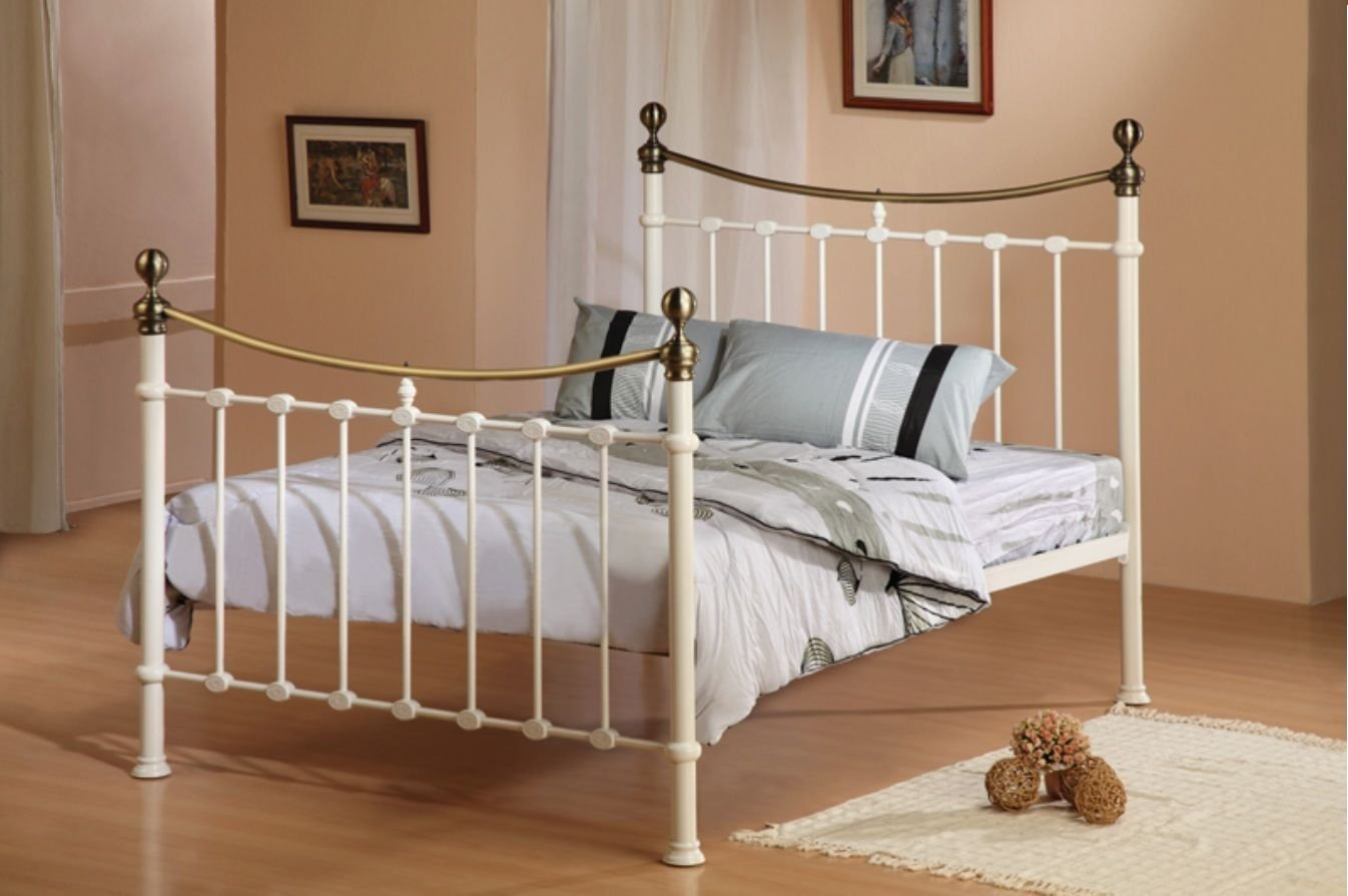 City block 3ft single white modern metal bed frame - Victorian 5ft King Size Elizabeth Antique Ivory Brass Metal Bed Frame Free Delivery Amazon Co Uk Kitchen Home