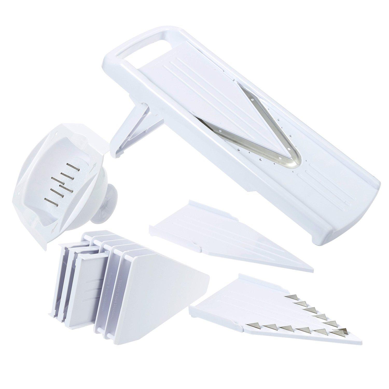 V-Blade Mandoline Slicer - 5 Stainless Steel Mandolin Blade Set - Handheld Mandoline Vegetable Slicer, Cutter, Peeler, Slicer, Grater and Julienne Food Slicer with Food Guard, White