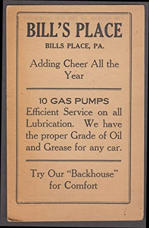 Bill's Place Gas Station 10 Pumps & a Backhouse card ca