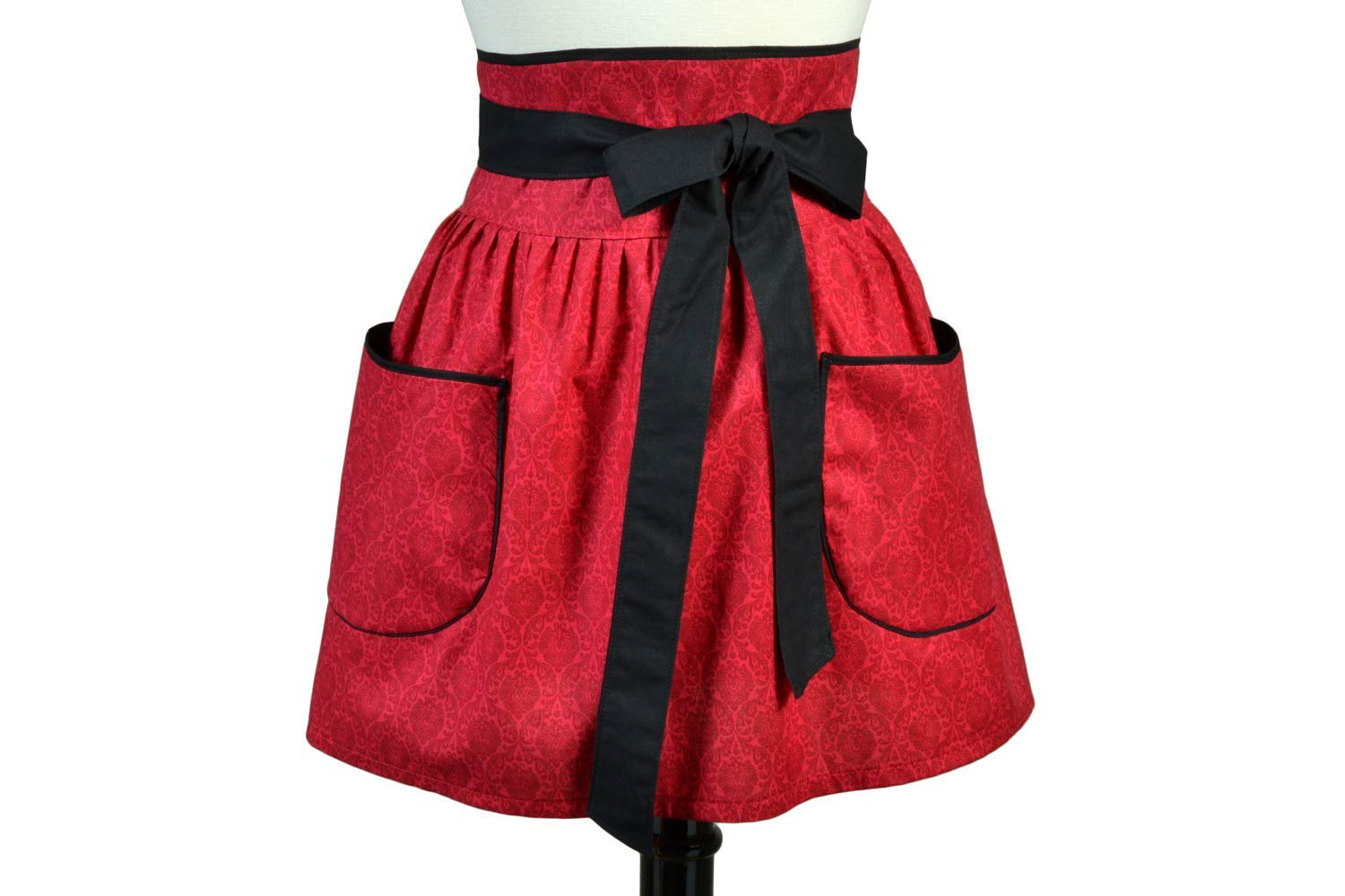 Womens Flirty Retro Waist Apron in Obi Design - Red Damask and Black Trim - Two Large Lined Pockets