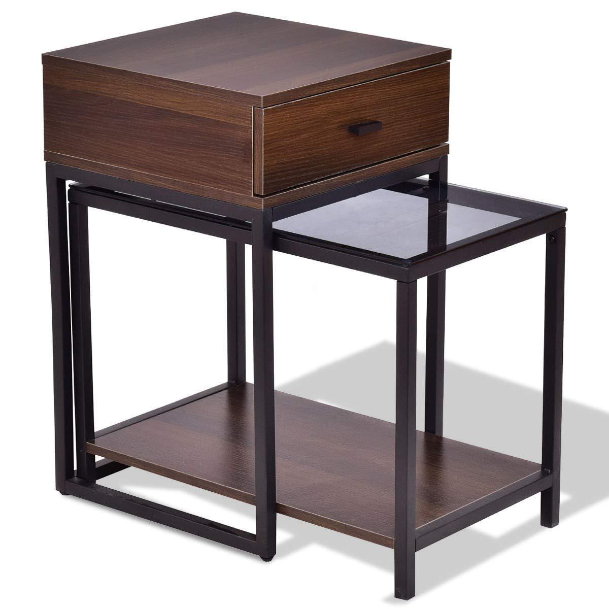 2 pcs Metal Frame Wood Glass Top Nesting Side Table