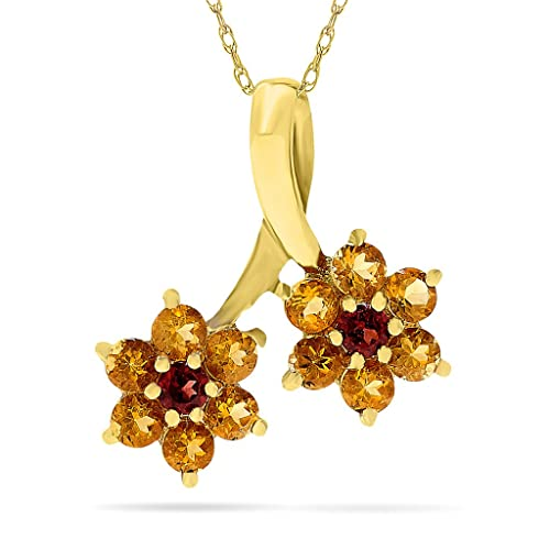 "10k Yellow Gold Citrine and Garnet Gemstone Flower Birthstone Pendant, with 18"" Chain."