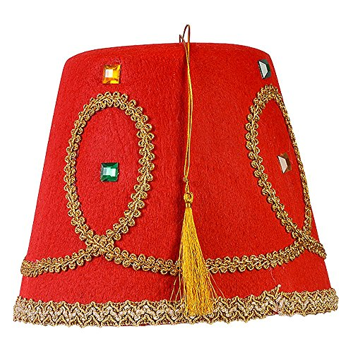 Monkey With Cymbals Costume (Red Fez Hat with Gold Tassel and Trimmings - Turkish Hats by Funny Party Hats)