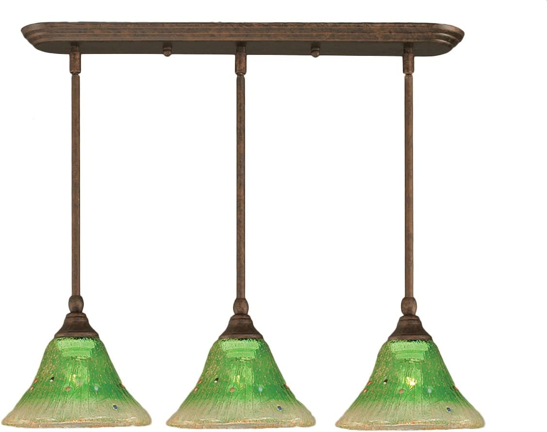 Toltec Lighting 25-BRZ-753 Multi Light Mini-Pendant Bronze Finish with Kiwi Green Crystal Glass Shade, 7-Inch