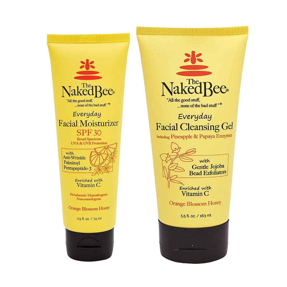 The Naked Bee Orange Blossom Honey Everyday Facial Care, Exfoliating Facial Cleansing Gel 5.5oz and Anti-Wrinkle Facial Moisturizer SPF30 2.5oz - 2 Piece