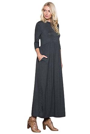 b78b3044f177 Annabelle Women's 3/4 Sleeve Elastic Waist Long Maxi Dresses with Side  Pocket Charcoal Medium