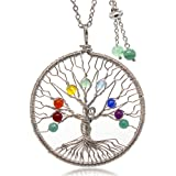 Feidisi Long Necklaces for Women,Tree of Life Pendant Gemstone Chakra Jewelry Necklace for Woman,Mom Gift