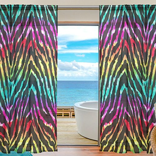 - ALAZA Sheer Curtain Animal Zebra Print Rainbow Voile Tulle Window Curtain for Home Kitchen Bedroom Living Room 55x78 inches 2 panels