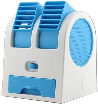 JiaMeng Pequeño Ventilador Eléctrico con Operación Ultra Silenciosa Mini Ventilador portátil del refrigerador del Aire Acondicionado del USB Recargable para la Mesa al Aire Libre (Azul): Amazon.es: Ropa y accesorios