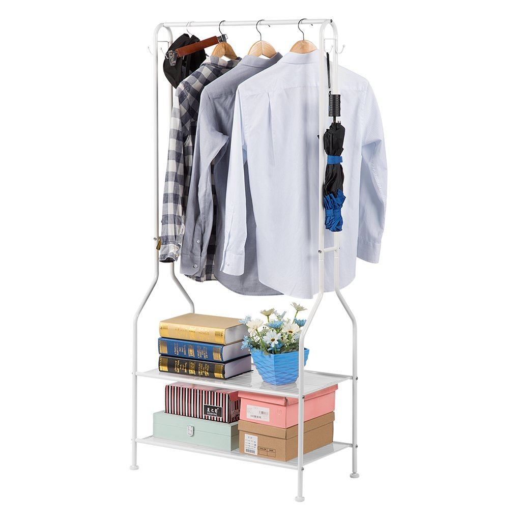 LANGRIA Heavy Duty Commercial Grade Clothing Garment Rack, 2-Tier Entryway Metal Coat Rack and Shoe Bench Storage Stand with Single Rod and 4 Hooks for Home Office Bedroom Max Capacity 66.1lbs, Black