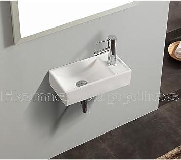 Piccolo lavello rettangolare da bagno in ceramica bianca con ...