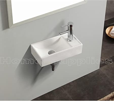 small bathroom sink rectangle wall mount cloakroom hand basin white