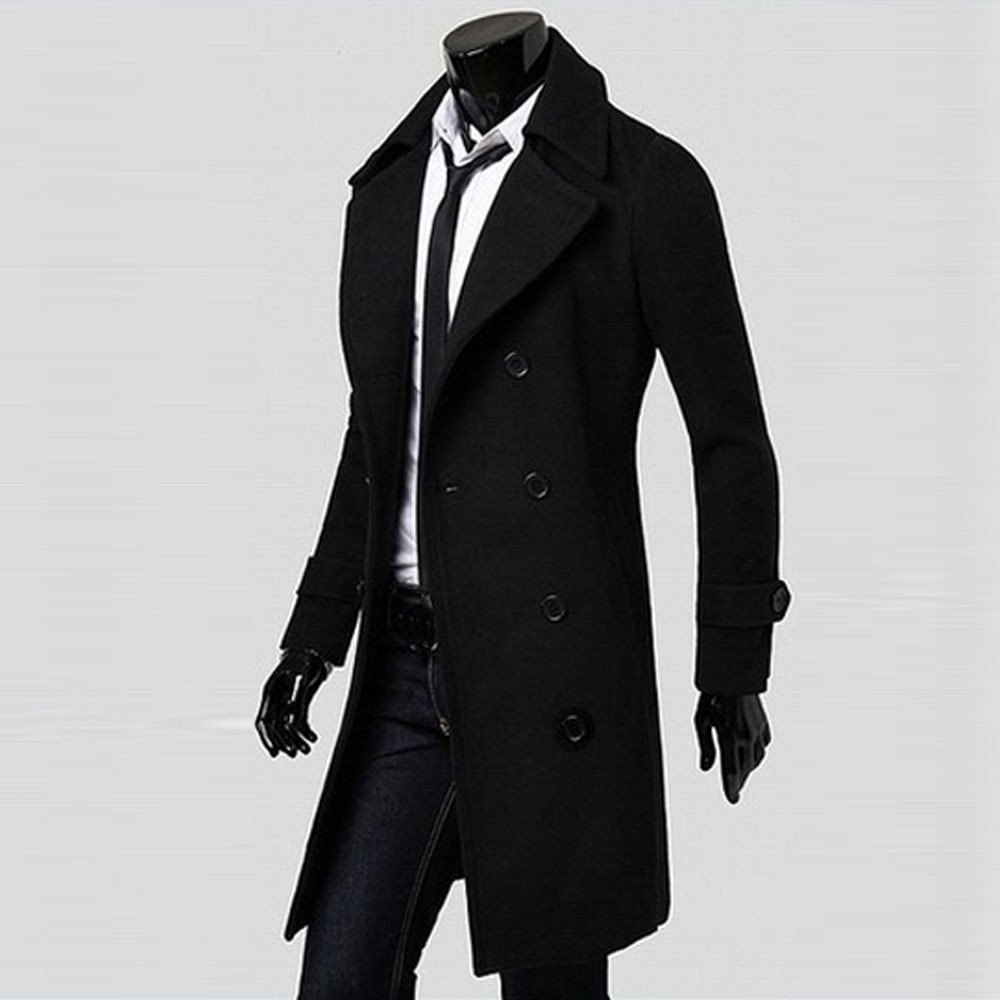 Mr.Macy Men Winter Slim Stylish Trench Coat Parka Double Breasted Long Jacket