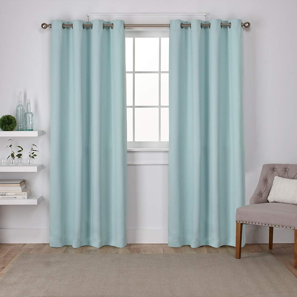 Exclusive Home Curtains Sateen Twill Weave Blackout Window Panel Pair with Grommet Top, 52x96, Seafoam, 2 Piece
