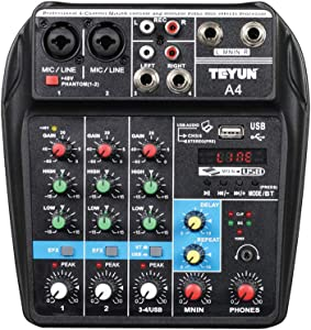 Professional Wireless 4 channel Audio Mixer TEYUN Portable Sound Mixing Console with USB Interface Digital MP3 Computer Input 48V Phantom Power Monitor for Home Studio Music Sound Recording