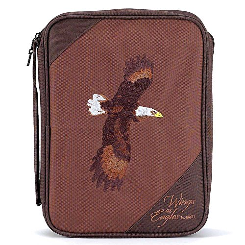 Brown Eagles Isaiah 40:31 Reinforced Polyester Bible Cover Case with Handle, -
