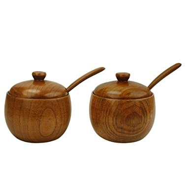 MyLifeUNIT Natural Wooden Salt box, Condiment Seasoning Storage Container, Spice Box with Spoon, Set of 2