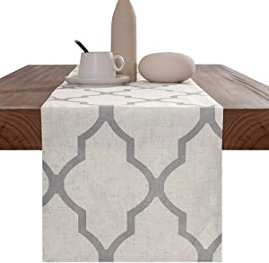 """jinchan Moroccan Tile Table Runner Linen Textured for Kitchen Geometric Trellis Printed Table Cover 1 Panel 55"""" L Soft Grey"""