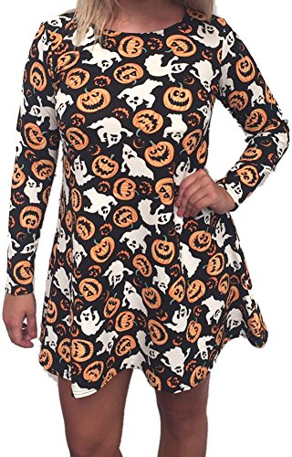 Halloween Vampire Women Scary Longsleeve Mid Bodycon Horror Club Wear Costumes Scary Ghost Brown Pumpkins L