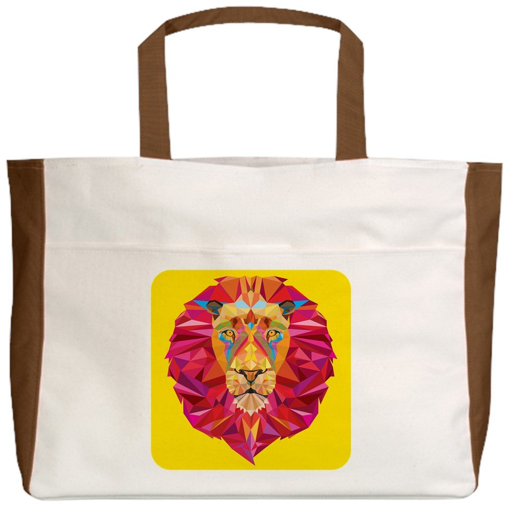 Royal Lion Beach Tote Geometric Lion King of the Jungle 2-Sided