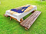 Lunarable Chakra Outdoor Tablecloth, Silhouette of a Body in Yoga Lotus Position with Chakra Meditation Yoga Pattern, Decorative Washable Picnic Table Cloth, 58 X 120 inches, Blue Orange