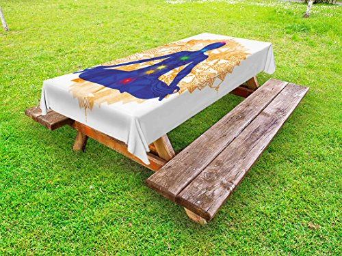 Lunarable Chakra Outdoor Tablecloth, Silhouette of a Body in Yoga Lotus Position with Chakra Meditation Yoga Pattern, Decorative Washable Picnic Table Cloth, 58 X 120 inches, Blue Orange by Lunarable