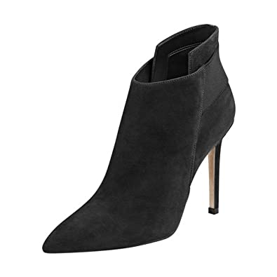 b2cae24e89e79 FSJ Women Elegant Pointed Toe Ankle Boots High Heels Faux Suede Elastic  Slip On Shoes Size