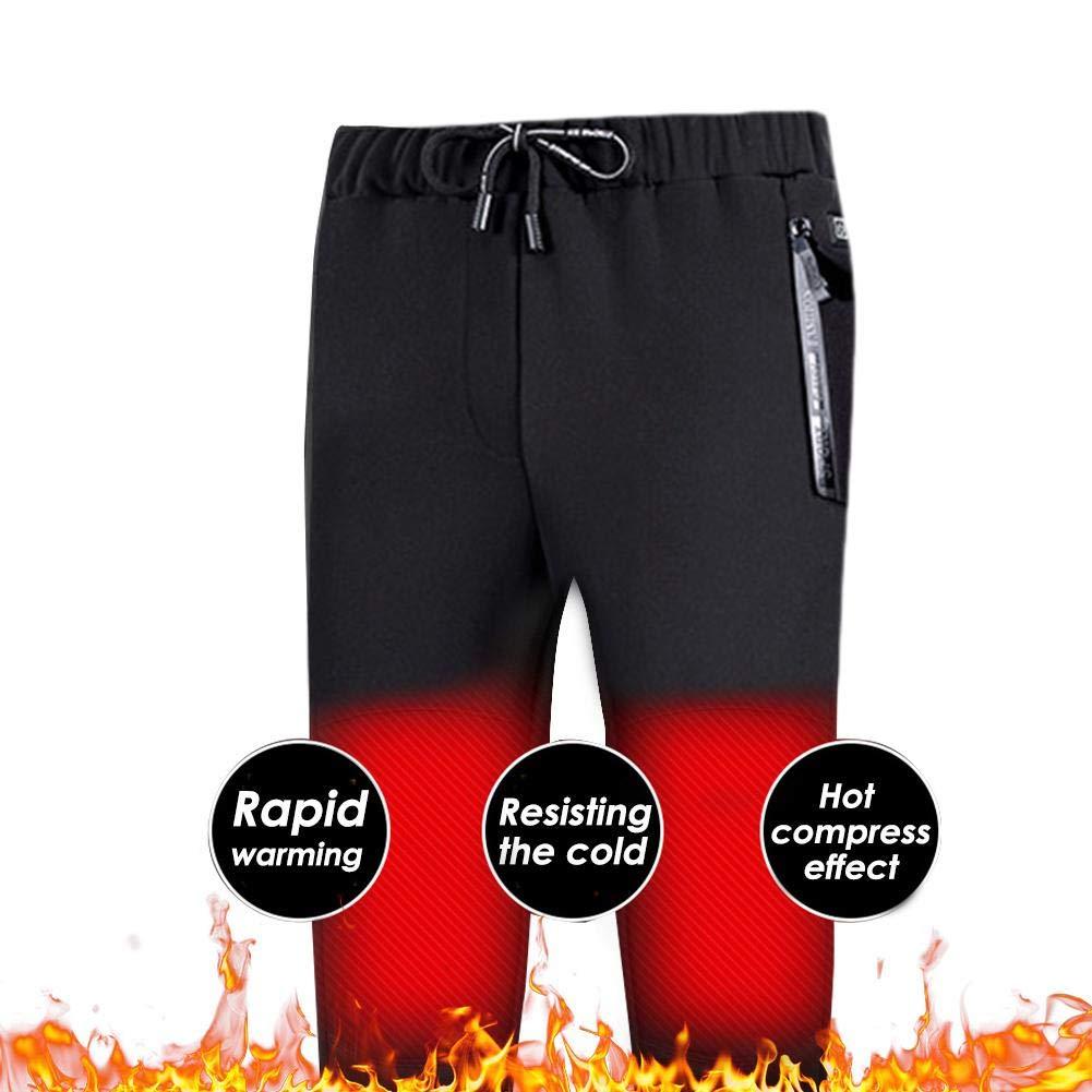 Hualieli Pantalons Chauffants USB V/êtements Chauffants en Fibre De Carbone Mod/èles dhiver pour Couple Plus Pantalon /Épaississant De Velours Chaud Pantalons Chauffants /Électriques Ajustables