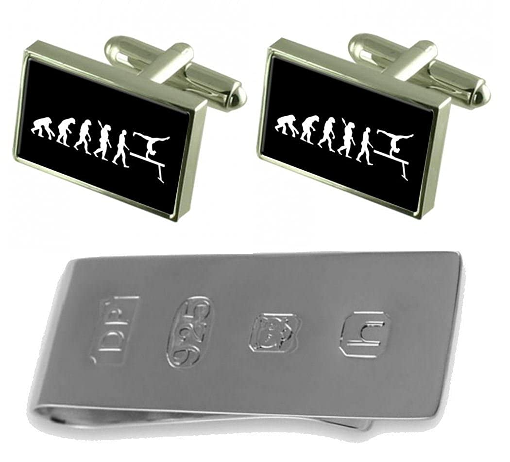 Select Gifts Evolution Ape to Man Gymnastics Cufflinks /& James Bond Money Clip