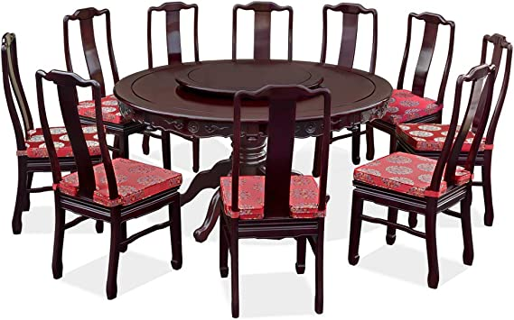 Amazon Com Chinafurnitureonline Rosewood Asian Dining Table 10 Chairs 60 Inch Round Floral Motif Dark Cherry Table Chair Sets