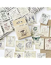 138 Pcs/3 Sets Post Stamp Stickers Retro Cute Plants/Animals Decorative Sticker Square Adhesive Sticker Envelope/Bag Seal by EORTA for Diary Planner Bottles Scrapbook DIY Craft Gift, Forest Theme