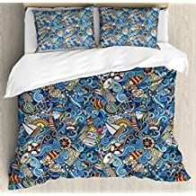 Nautical Decor King Size Duvet Cover Set by Ambesonne, Abstract Pattern Sea Shells Sea Horse Corals Fish Rob Globe Maps Wavy Ocean, Decorative 3 Piece Bedding Set with 2 Pillow Shams