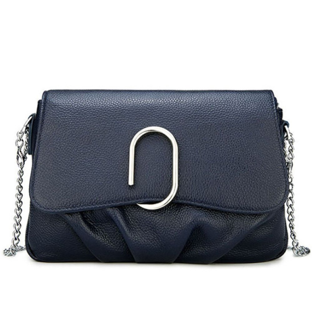 Simple And Fashionable Leather Handbags First Layer Leather Shoulder Bag Dumpling Shape Metal Chain,Black-24197cm