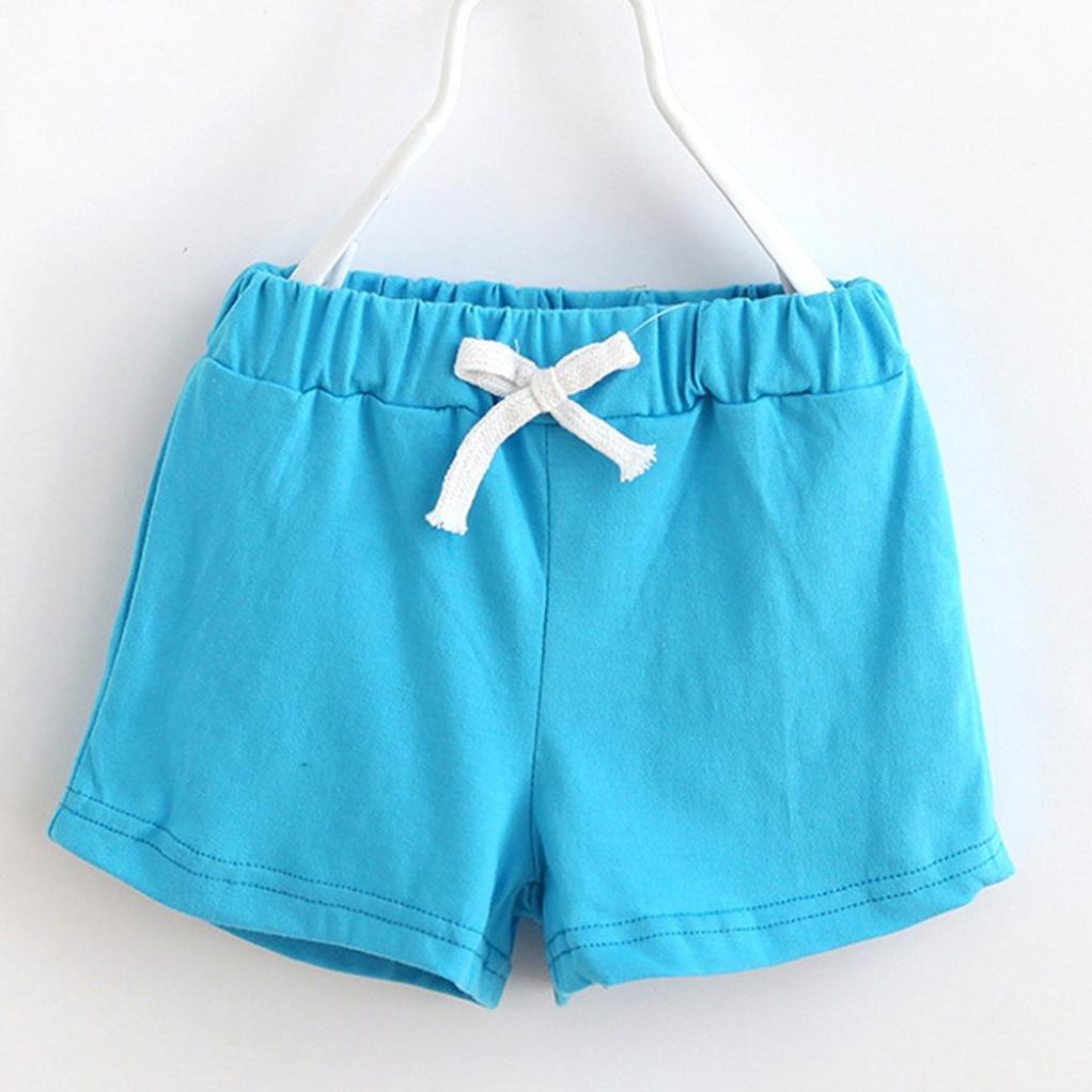 Fineser Toddler Little Boys Girls Kids Cotton Soft Harem Pants Pure Color Baby Shorts