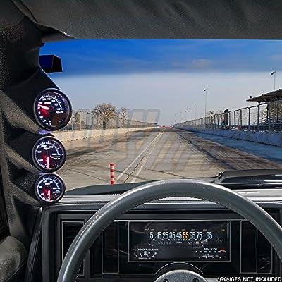 "GlowShift Black Triple Pillar Gauge Pod for 1978-1987 Chevrolet Chevy El Camino 2 Door G-Body- ABS Plastic - Mounts (3) 2-1/16"" (52mm) Gauges to Vehicle's A-Pillar: Automotive"