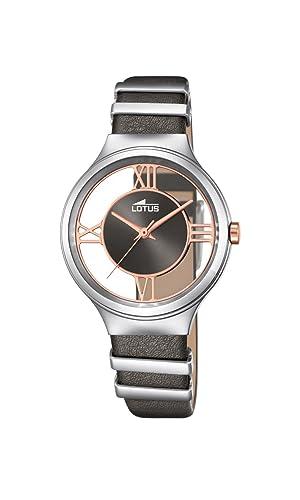 Lotus - Reloj de Cuarzo para Mujer con Esfera analógica Gris y Gris Correa de Piel 18337/1: Amazon.es: Relojes