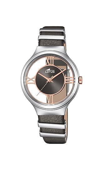 Lotus – Reloj de Cuarzo para Mujer con Esfera analógica Gris y Gris Correa de Piel
