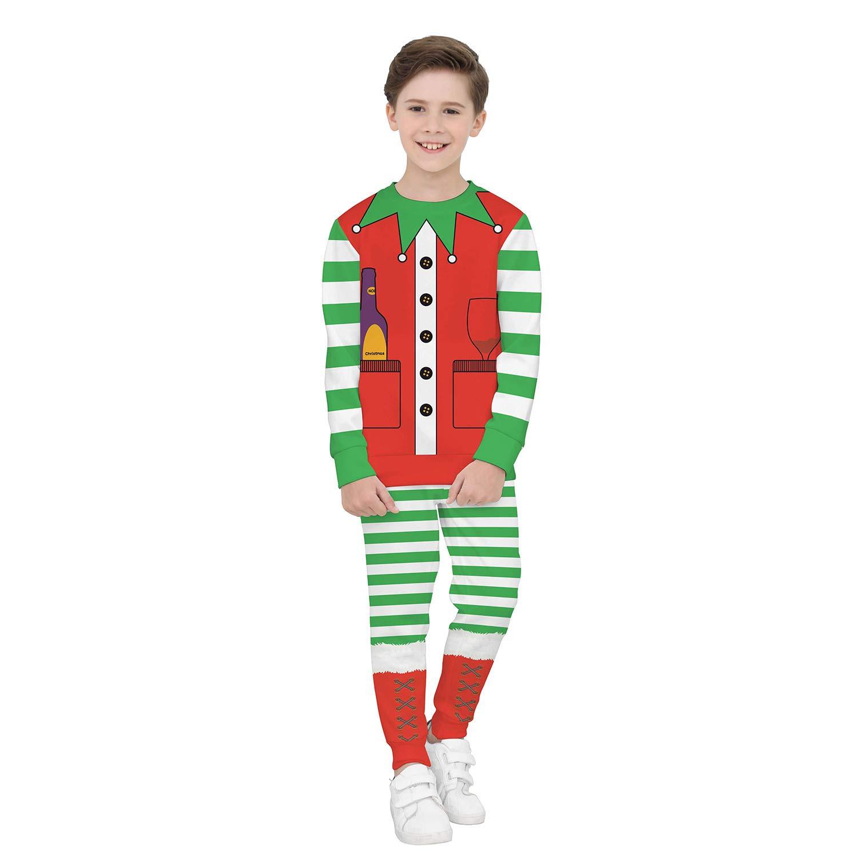 JXJ Weihnachts-Kinder-Set Unisex 3D Digital Print Langärmel Zweit Teiliges T-Shirt + Hose Ideales Kind XS-XL,S