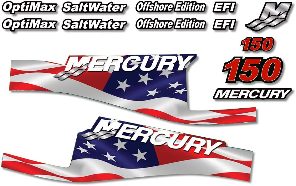 AMR Racing Outboard Engine Graphics Kit Sticker Decal Compatible with Mercury 150 - EFI Flag