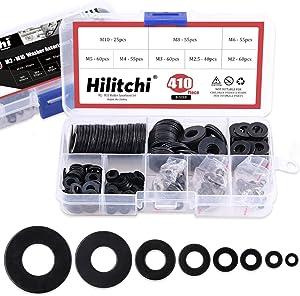 Hilitchi 410-Pcs [8-Size] Alloy Steel Flat Washers Assortment Set - Size Included: M2 M2.5 M3 M4 M5 M6 M8 M10